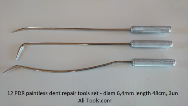 3 PDR Tools Set for Eliminating Car Dents diam 6.4mm, length 48cm